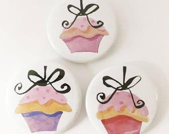 Cute cupcakes button pin SET pins, cupcake pinbacks, cute buttons