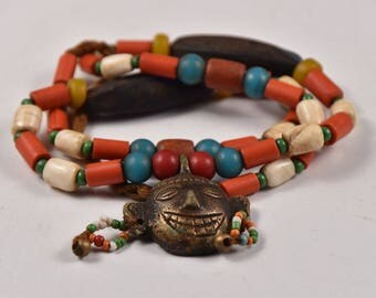 Traditional NAGA Ethnic Necklace with Handmade Multicolored Glass Beads and Large Traditional Skull Brass Pendant, Folk Art