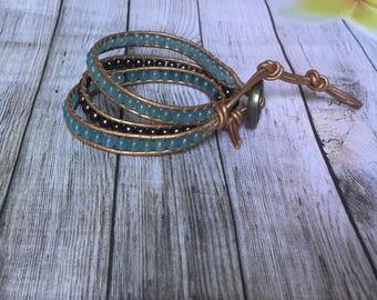 leather wrap bracelet / gemstone jewelry/ gift idea / 3x wrap / chan luu style wrap bracelet / aquamarine and brown accent beads