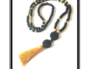 Long black tassel and gold, natural wooden beads black & gold hematite, multicolored Bohemian boho necklace Tassel Black Gold beads