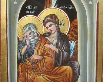St. Peter and the angel of the Lord,Orthodox Byzantine icon