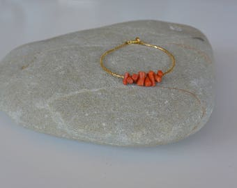 Authentic Vintage Coral and Seed Bead Bracelet