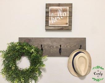 Wooden Coat Rack | Entry Way Coat Rack | Towel Rack | Farmhouse Decor | Rustic Coat Rack | Farmhouse Coat Rack