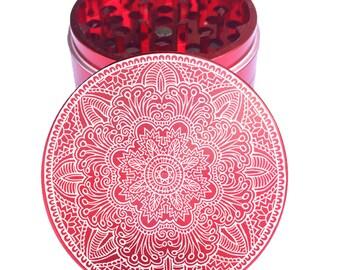 Mandala #44 Herb Grinder 2.2 Inch - Engraved Grinder - 4PC Herb Grinder   -  Custom Grinder - 2.2 Inch Custom Engraved Grinder