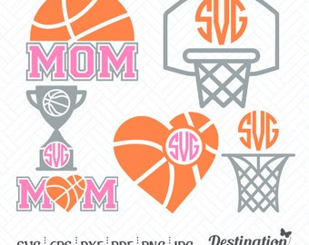 Basketball SVG Files, Basketball Monogram Frame, Cutting Files, Silhouette Files, Cricut Files, Layered Vector, dxf eps png jpg pdf, D/012