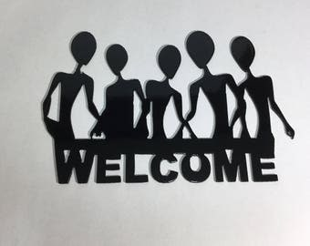 Alien Welcome Sign Metal Art