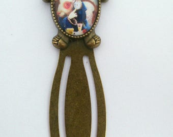 "Bookmark paper clip Bronze ""rabbit and Alice watch in the land of Wonderland"""