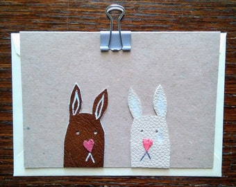 Handmade Rabbit Love Card - little leather bunny love greetings card, rabbit lover card, anniversary rabbit card