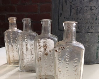 Antique apothecary bottle- lot of 4 clear bakers bottles