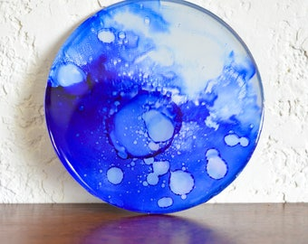 Lunar magnet- handmade blue refrigerator magnet featuring original alcohol ink fluid artwork on mirror surface