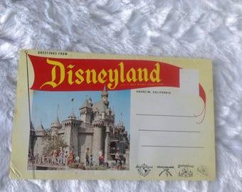 Original 1955 Disneyland Postcard book, Adventureland, Frontierland, Fantasyland, Tomorrowland, Color Card Corporation,  Rppc