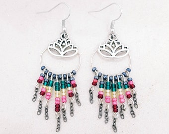 Lotus flower - silver - seed beads hoop earrings