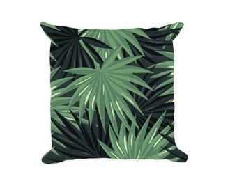 Decorative Throw Pillow - Tropical Pillow, Palm Leaf Pillow, Square Pillow, Pillow Couch, Accent Pillow, pillow Case, Sofa Pillow