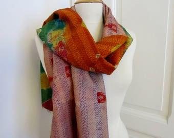 Hand Embroidered Kantha Silk Scarf