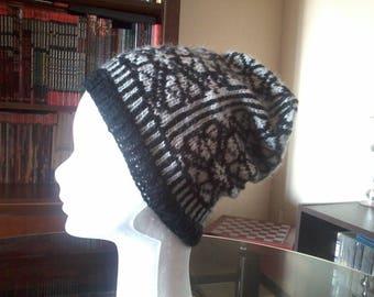 black and white jacquard Beanie wool angora and alpaca