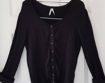Classic Cardigan in black with floral bronzed buttons, size 10-12