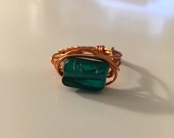 Copper Ring w/Green Bead