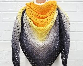 Crochet Lace Shawl Gradient Yellow to Black, Summer Shawl, Knitted Shoulder Scarf, Ocean Beach Island Knit Wrap, Triangle Shawl