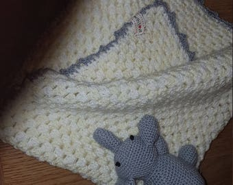 Gorgeous crochet cuddle blanket and elephant toy