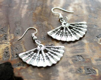 Japanese Fan Charm Drop Earrings, Asian Culture Dangle Earrings, Cool Antique Silver Handmade Jewelry, Birthday Gifts For Sister Under 5
