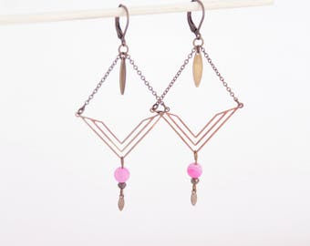 Graphic earrings pink agate