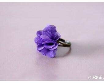 Chiffon purple flower ring & brass #0929