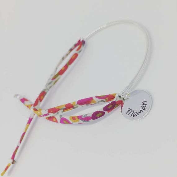 ★ ★ Liberty Wiltshire custom engraving half Bangle Bracelet MOM idea. Birth, birthday, Christmas