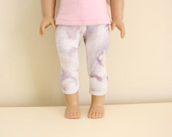 Purple Printed Leggings for 18 inch dolls; fits American Girl