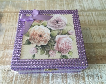 Floral & Crystal Jewelry Box