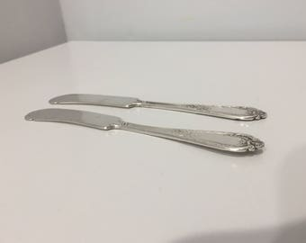 Antique Silver Flatware International Silver Joan of Arc Butter Spreaders, Set of Two Knives, Sterling Silver