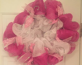 Hot Pink and White Deco Mesh Wreath