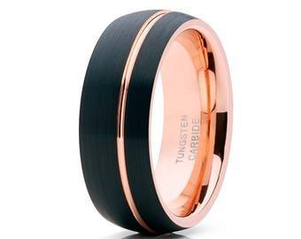 Rose Gold Tungsten Wedding Band Men & Women Tungsten Wedding Band Brush Black Tungsten Wedding Band