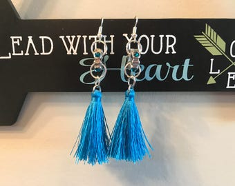 Adelicia blue tassel earrings