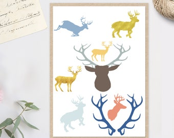 stags clip art, stags clipart, stag clipart, stag clip art, stag digital files, instant download, digital art, stag instant download