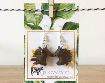 echidna polymer clay earrings