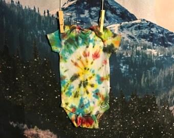 rainbow tie dye baby onesie, size 6-9 months