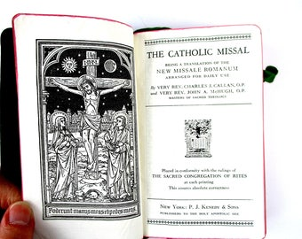 Vintage 1943 Catholic Missal Book, PJ Kenedy & Sons, 1940s Catholic MIssal New Missale Romanum for Daily Use