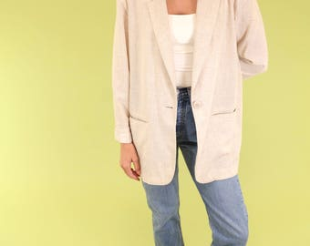 Beautiful light taupe linen blend vintage blazer with one button. SIZE L