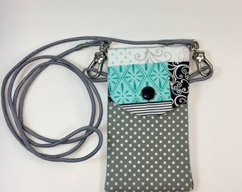 Handmade Small Crossbody Phone Holder-Grey/Blue