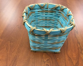 Handcrafted Basket with blue reed,brown reed ,sea grass, cedar bottom