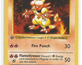 Pokemon Base Set 1st edition Shadowless Magmar - NM