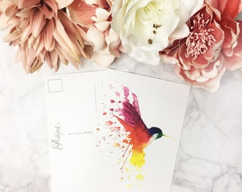 Watercolor printed POSTCARD - Rainbow Hummingbird