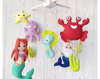 Baby Mobile Mermaid Decor Baby Shower Gift Sea Creatures Mermaid Crib Mobile Under the Sea Mobile Nursery Neptune Mobile Mobile Disney Decor