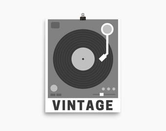 Vintage Record Player (black and white), Printable Art, Digital Art Print, Home Decor, Wall Art
