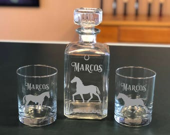 Personalized Horse Whiskey Glasses & Decanter Set, Gifts for Men, Gift for Horse Lover, Engraved Decanter, Decanter Set, Whiskey Decanter