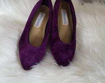 Vintage Dark Purple Velvet Heels, Lennox Square Shoes, 6.5