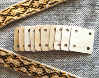 Tablet weaving cards - a set of 10 - ready for shipping - 1.5 mm / 5x5 cm - birch wood - made by artisan