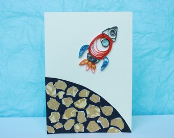 Quilled Rocket and Planet Greetings / Birthday Card