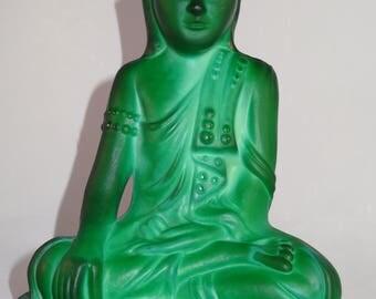 Antique Bohemian Czech Curt Schlevogt circa 1930's Buddha  statue green malachite glass