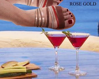 Women's Sandals,Sandals Women's, Rose Gold Sandals,Brown Sandals,Handmade Sandals, Leather Sandals, ETERNITY 1 roz gold